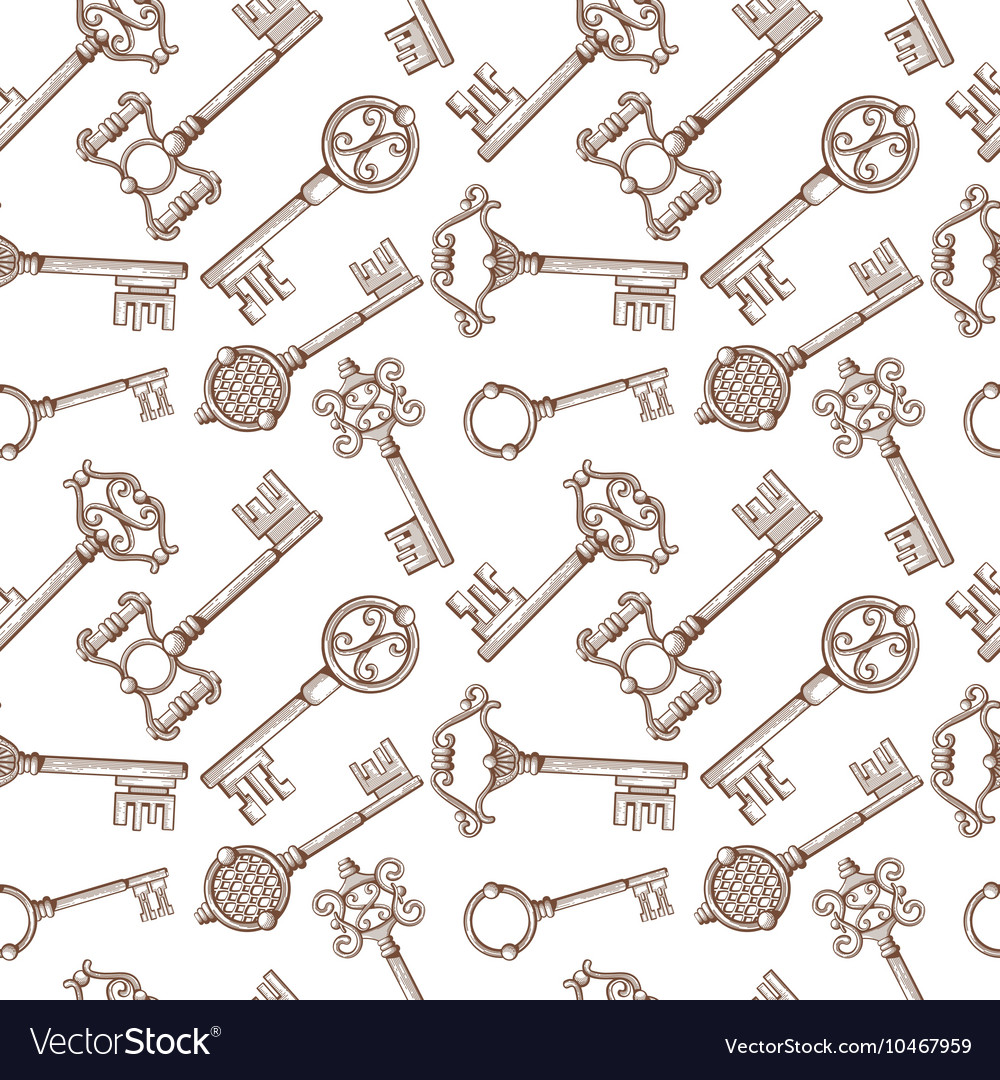 Vintage lock and key seamless pattern vector image