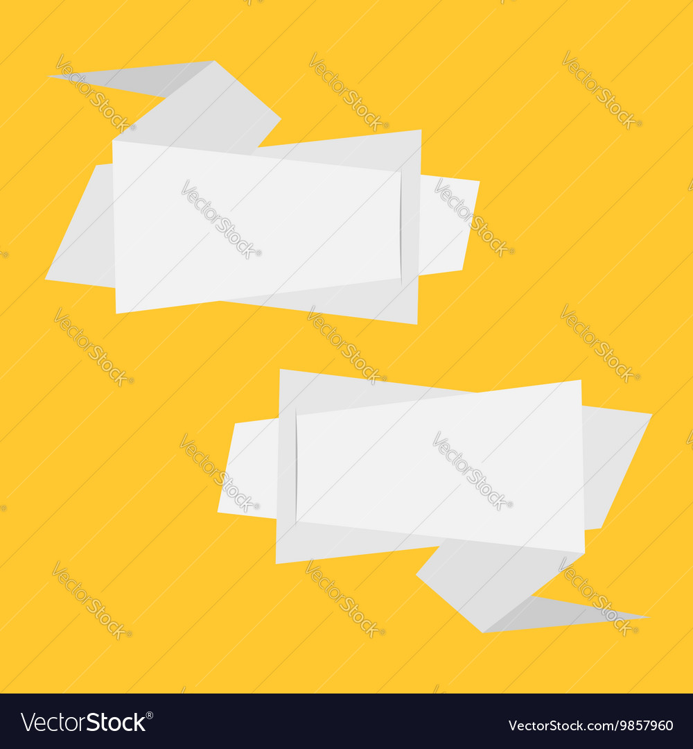 Origami paper banner set Abstract geometric price vector image