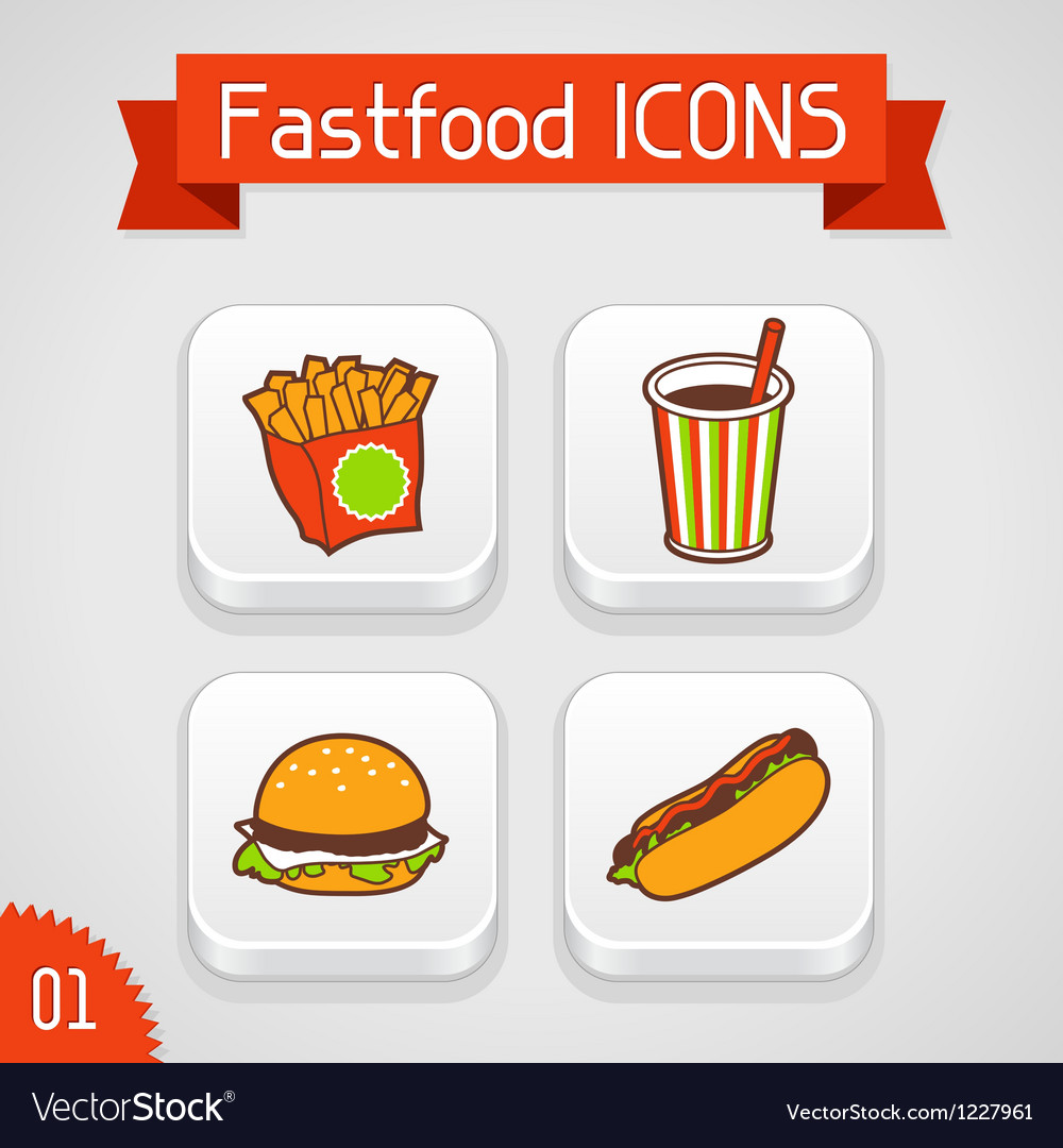Collection of apps icons with fast food Set 1 vector image