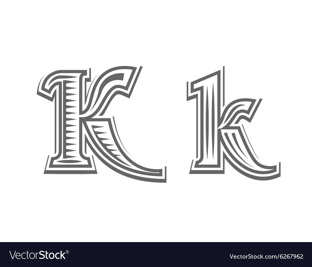 Font tattoo engraving letter K vector image