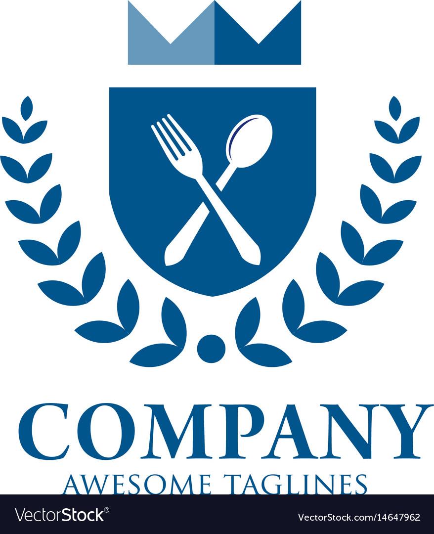Gourmet logo delicious food king food love food vector image