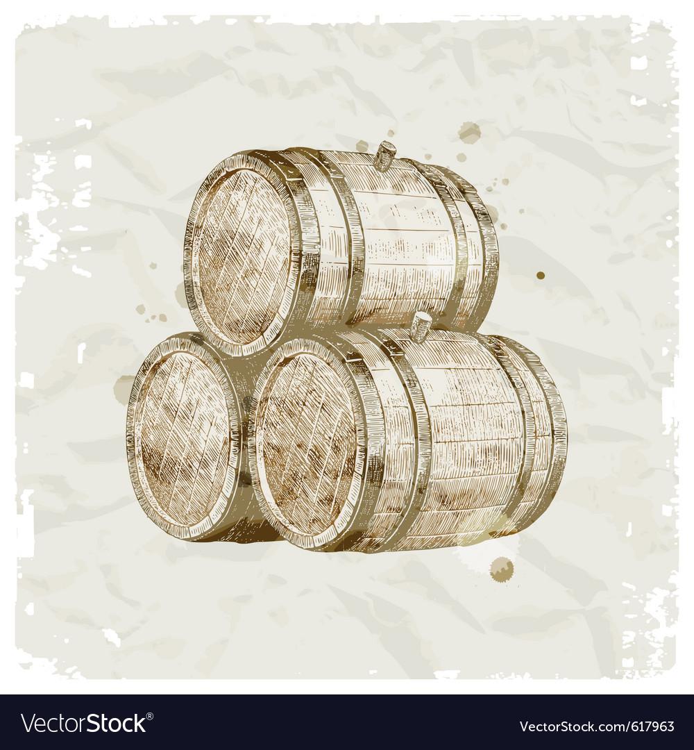 Hand drawn wooden barrels vector image