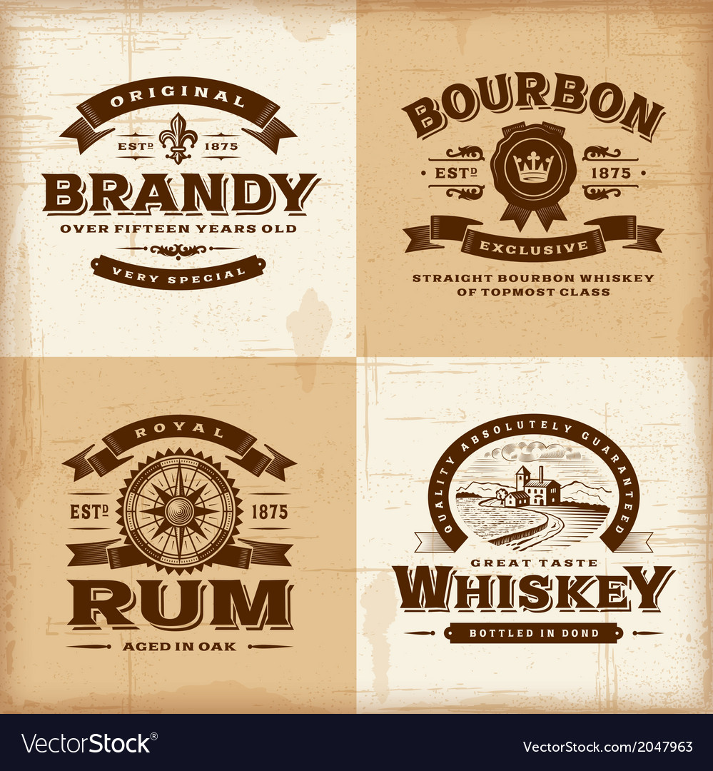 Vintage alcohol labels set vector image