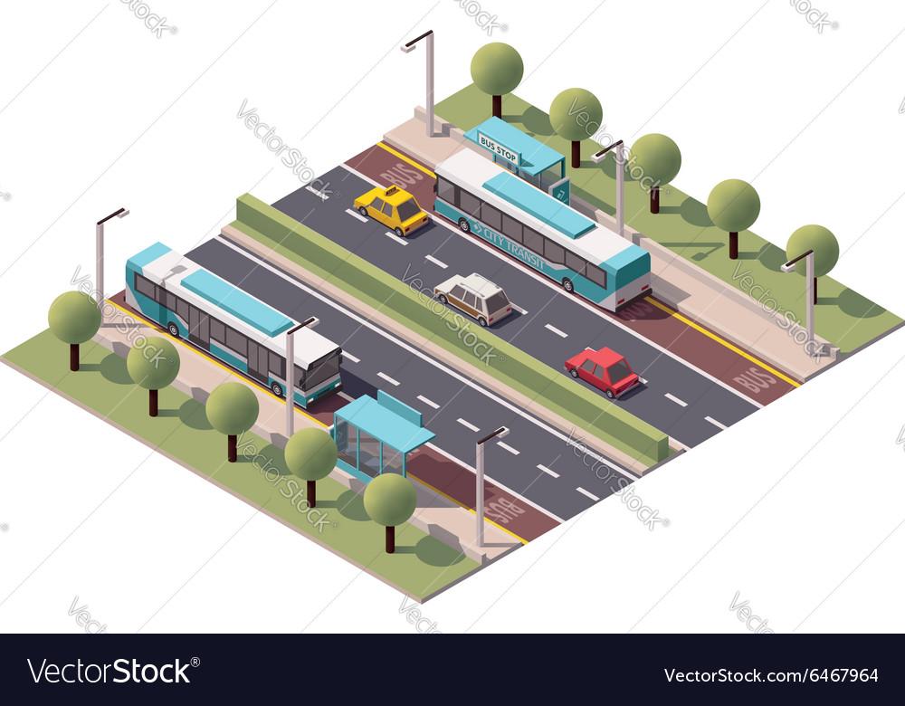 Isometric bus stop vector image