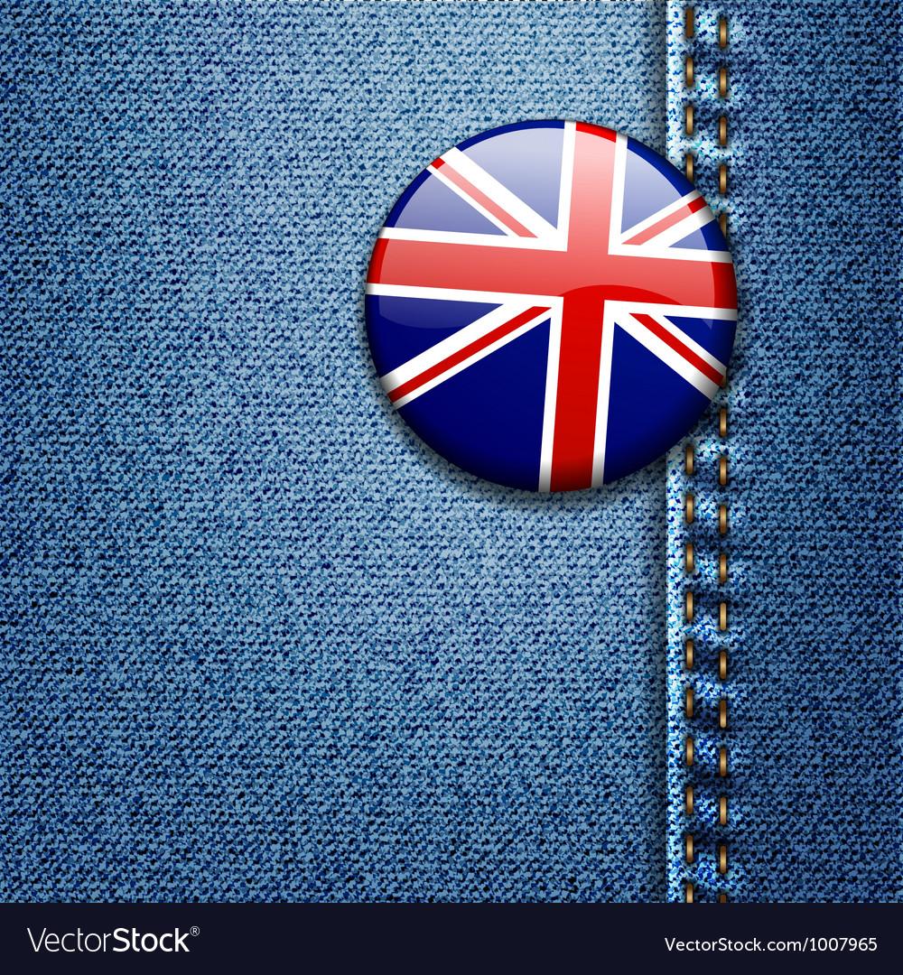 UK Flag On Denim Texture Vector Image