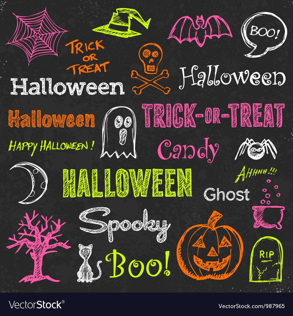 Halloween hand-drawn elements vector image