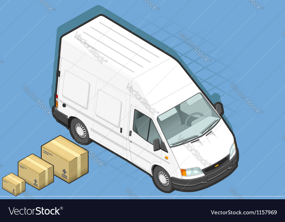 Isometric White Van in front view vector image