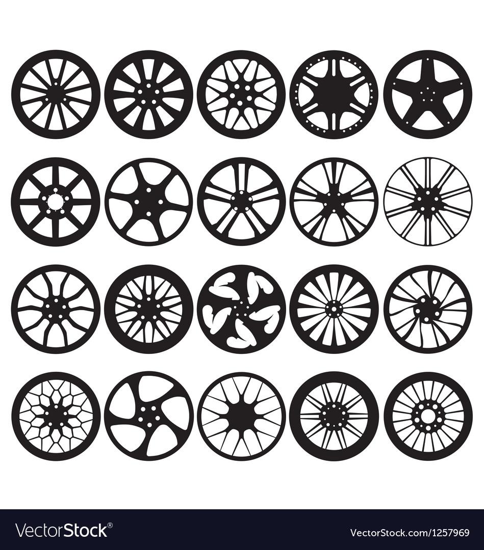 Car wheel rim silhouettes Vector Image