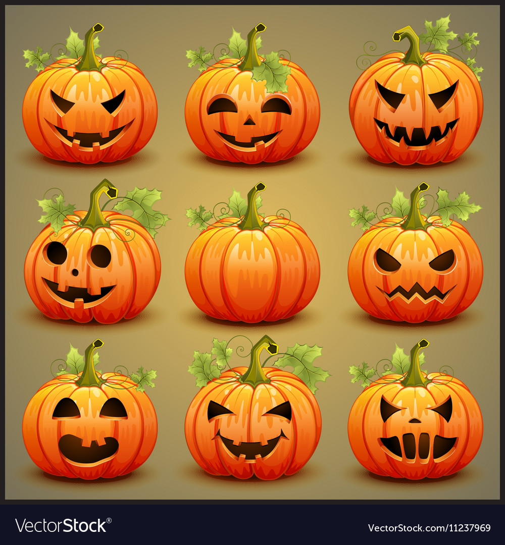 Big set of pumpkins for Halloween vector image