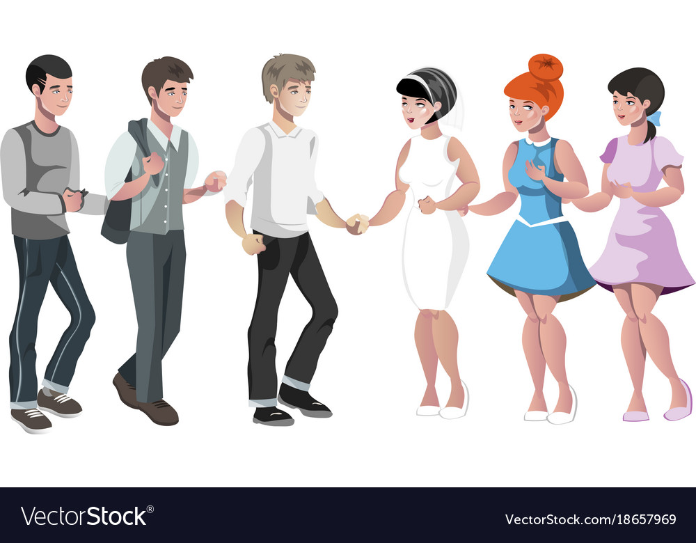 Bride and groom with friend vector image