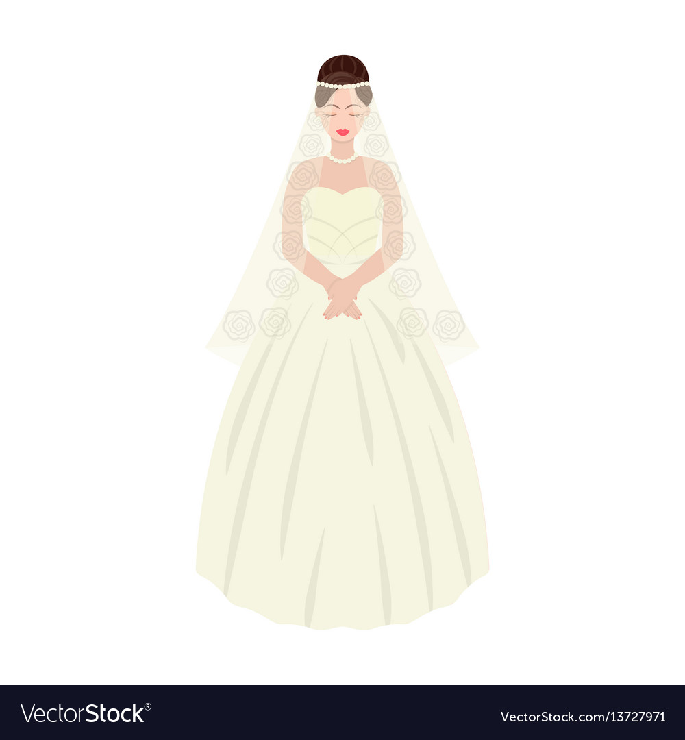 Bride in a beautiful wedding dresswedding single vector image