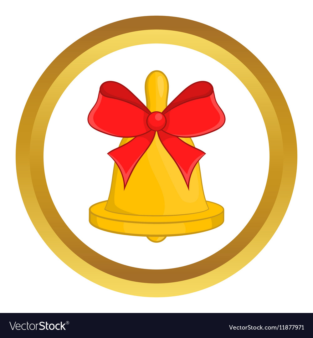 Christmas bell with red bow icon vector image
