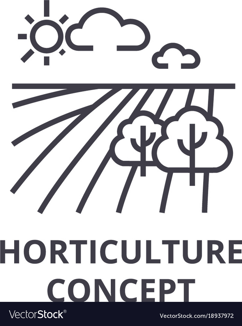 Horticulture concept line icon outline sign vector image