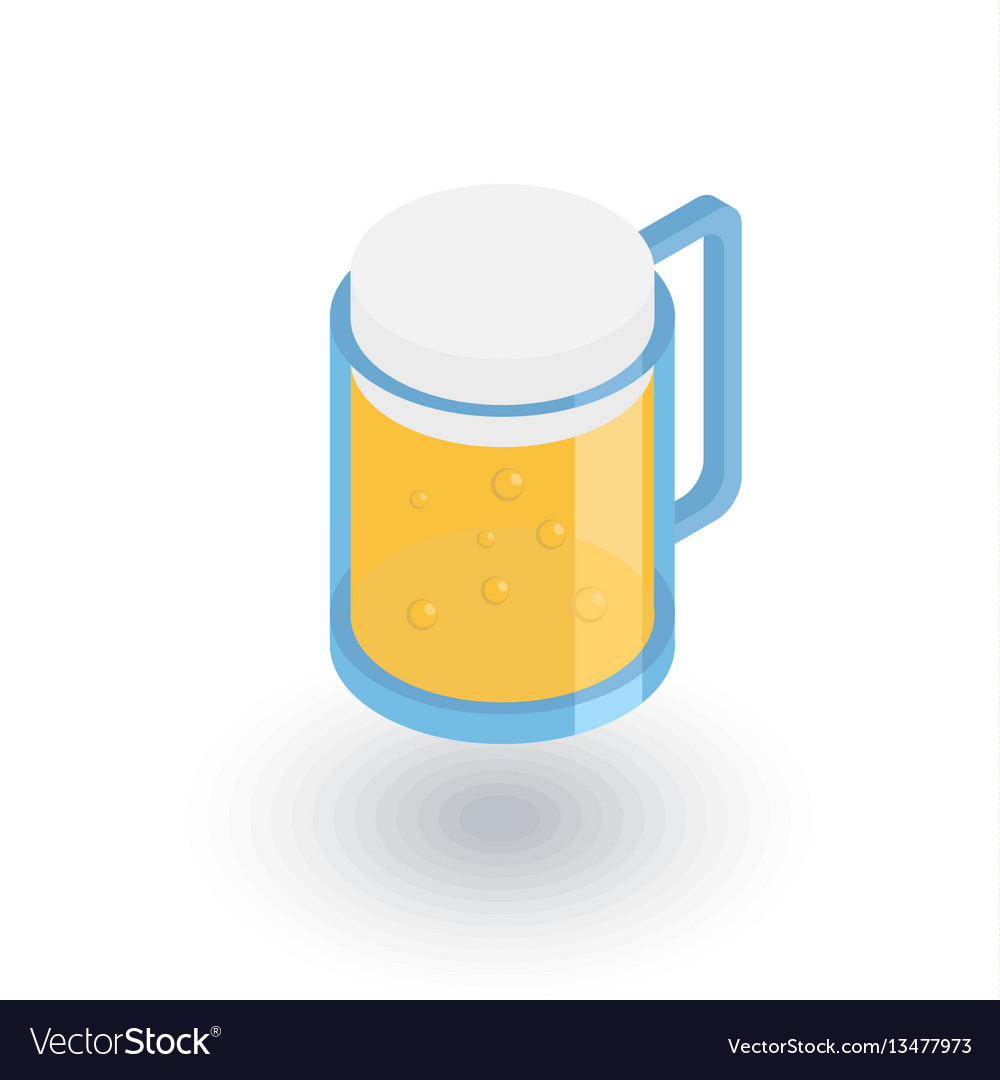 Beer glass whith foam isometric flat icon 3d vector image