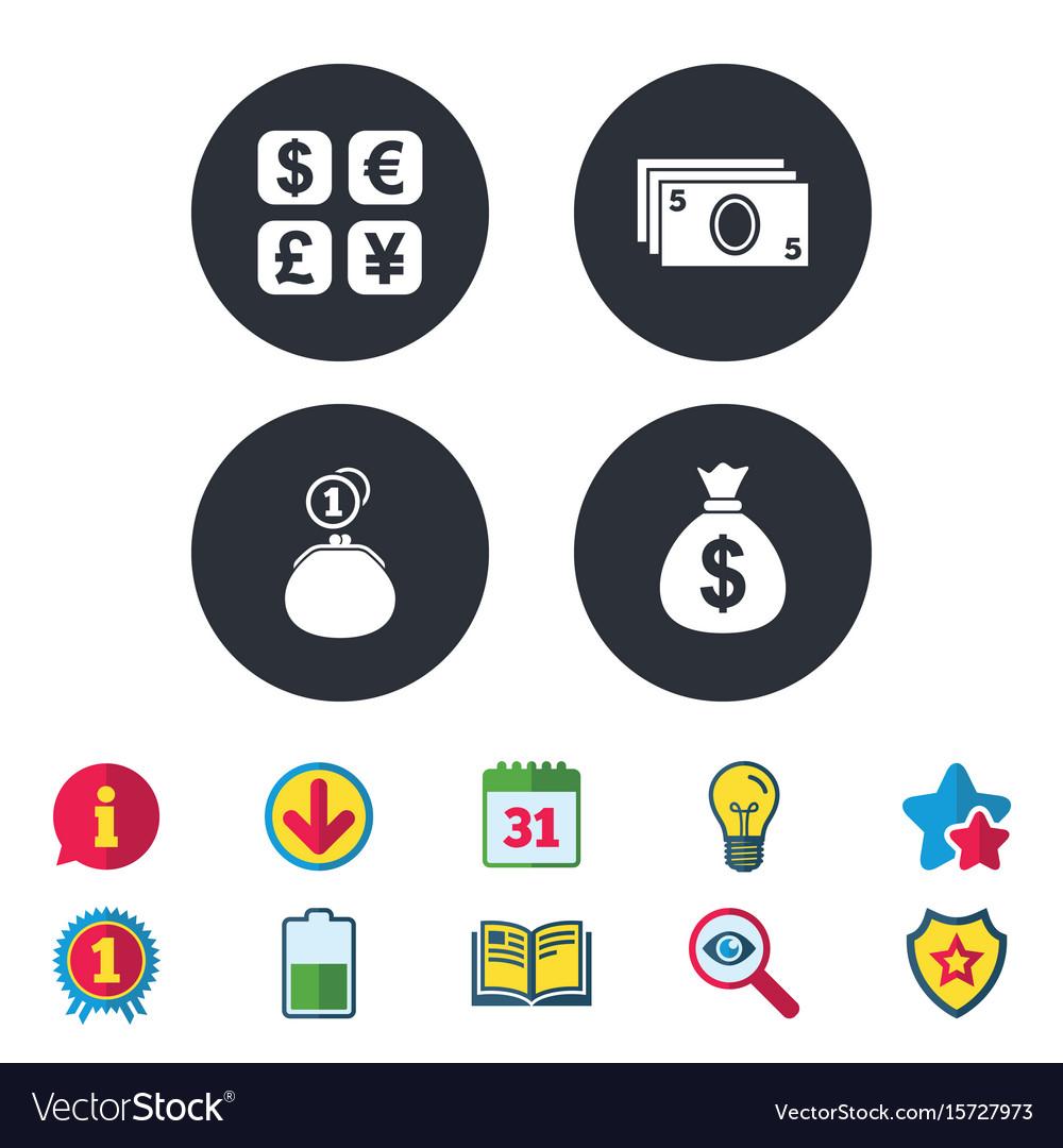 Currency exchange icon cash money bag wallet vector image biocorpaavc Gallery