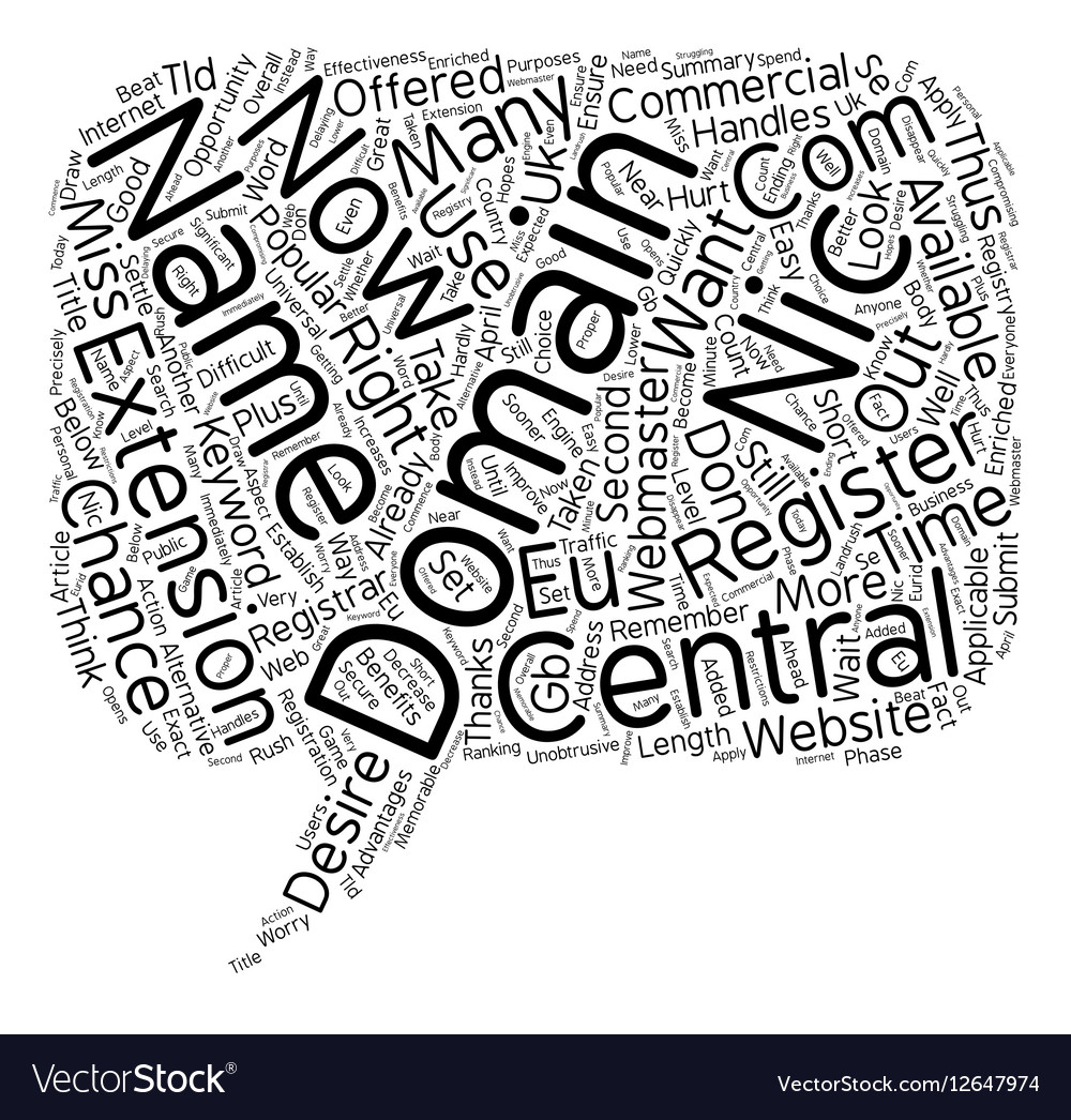 Central Nic Domains text background wordcloud vector image