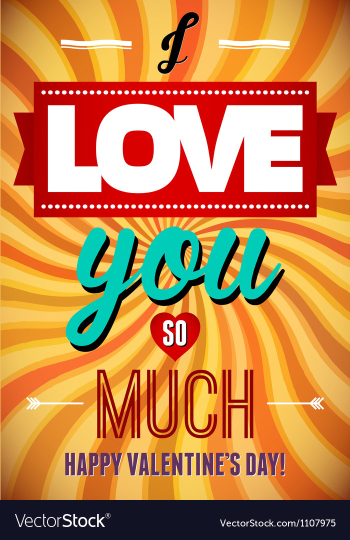 Valentines Day type text calligraphic Valentines vector image