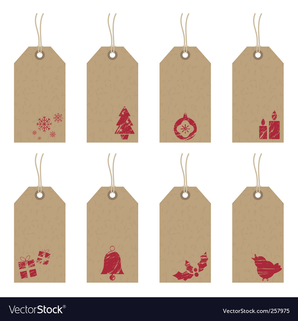 Christmas tags with icons vector image
