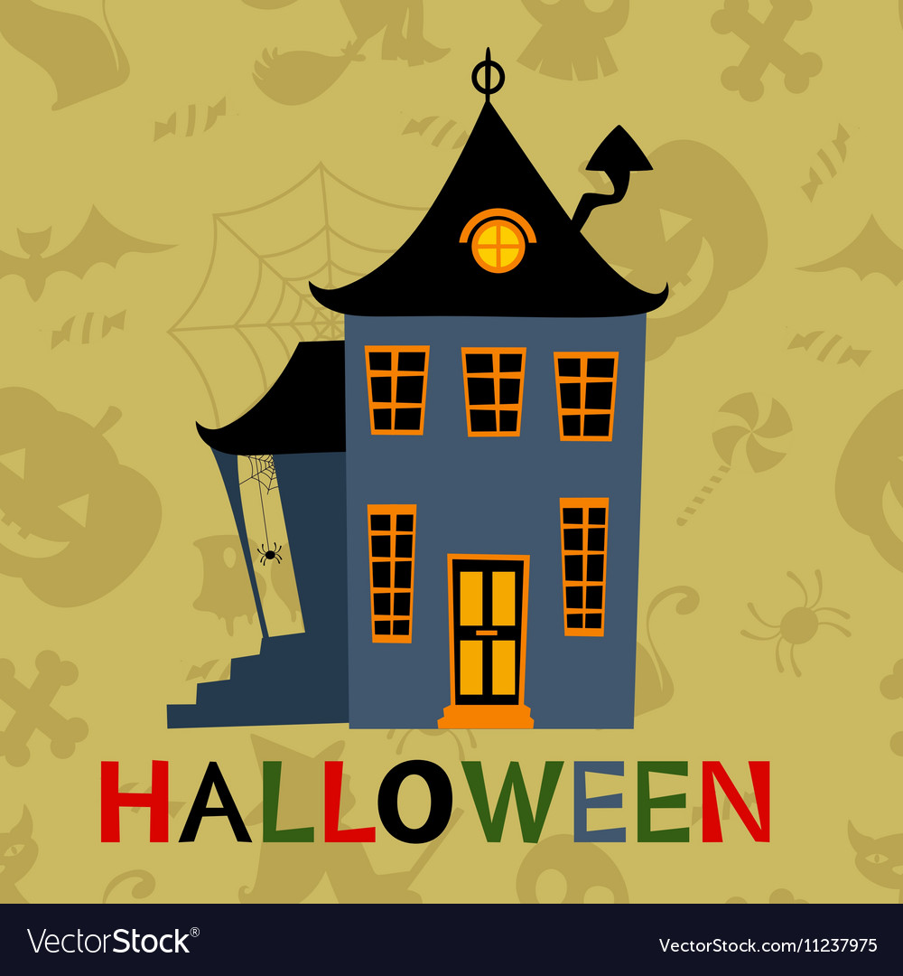 Halloween haunted house card vector image