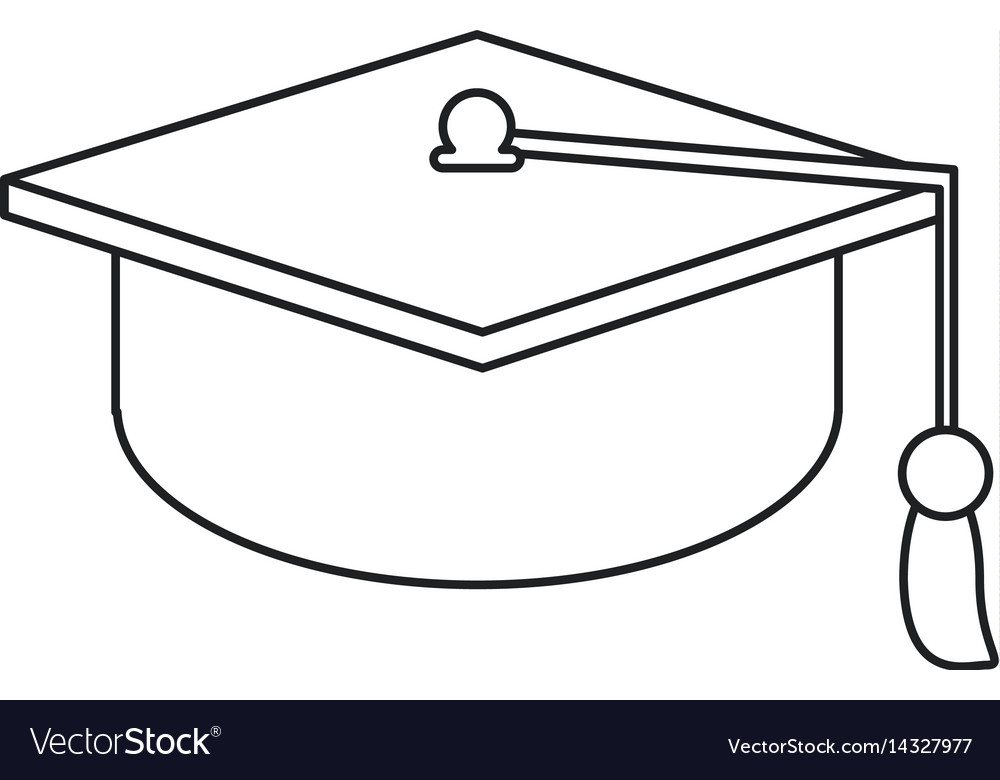 Gaduation cap education symbol thin line vector image
