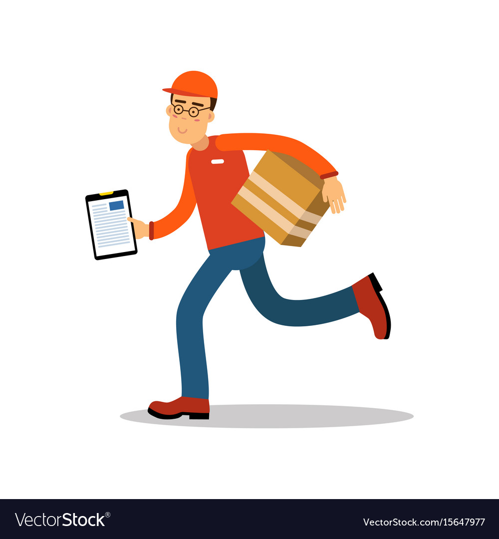 Smiling delivery man running with cardbox courier vector image