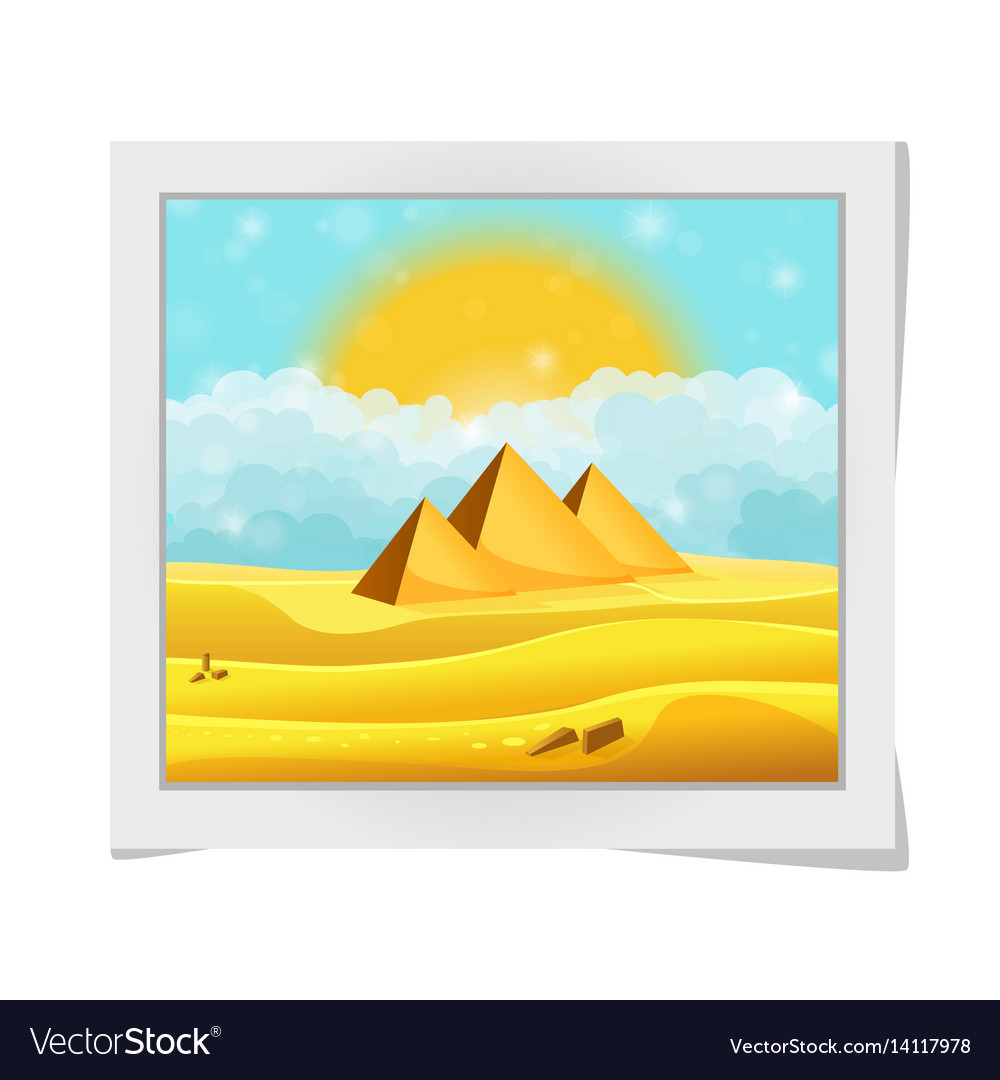 Cartoon photo frame with egyptian pyramids in the vector image