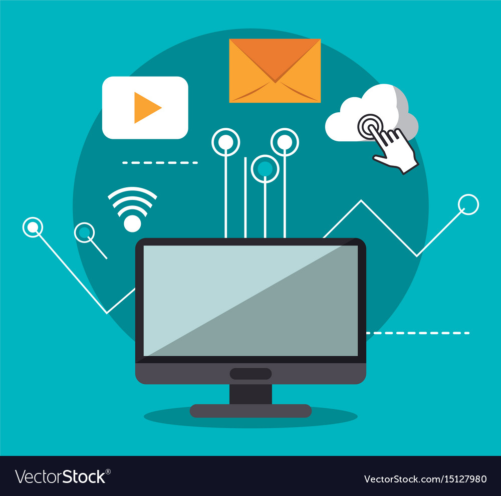 Blue background with desktop computer and link to vector image