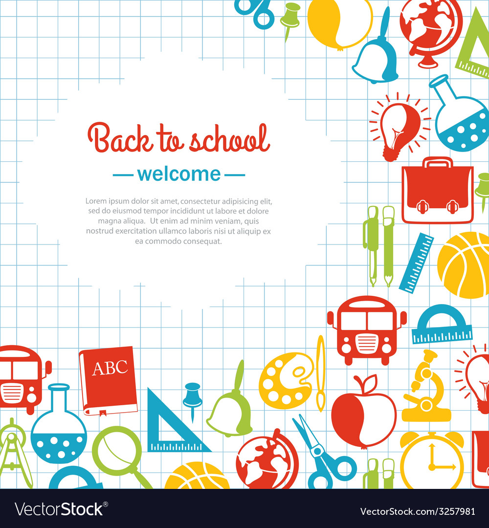 Back to school background for school Royalty Free Vector ...