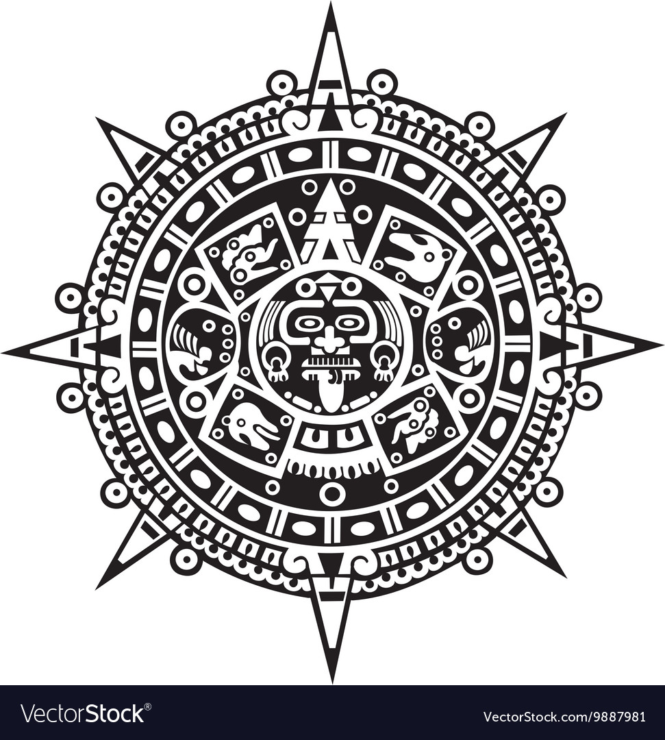 Calendar Design Free Vector : Aztec calendar royalty free vector image vectorstock