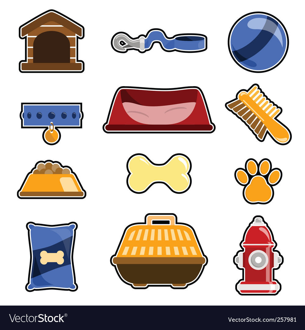 Dog object icon set vector image