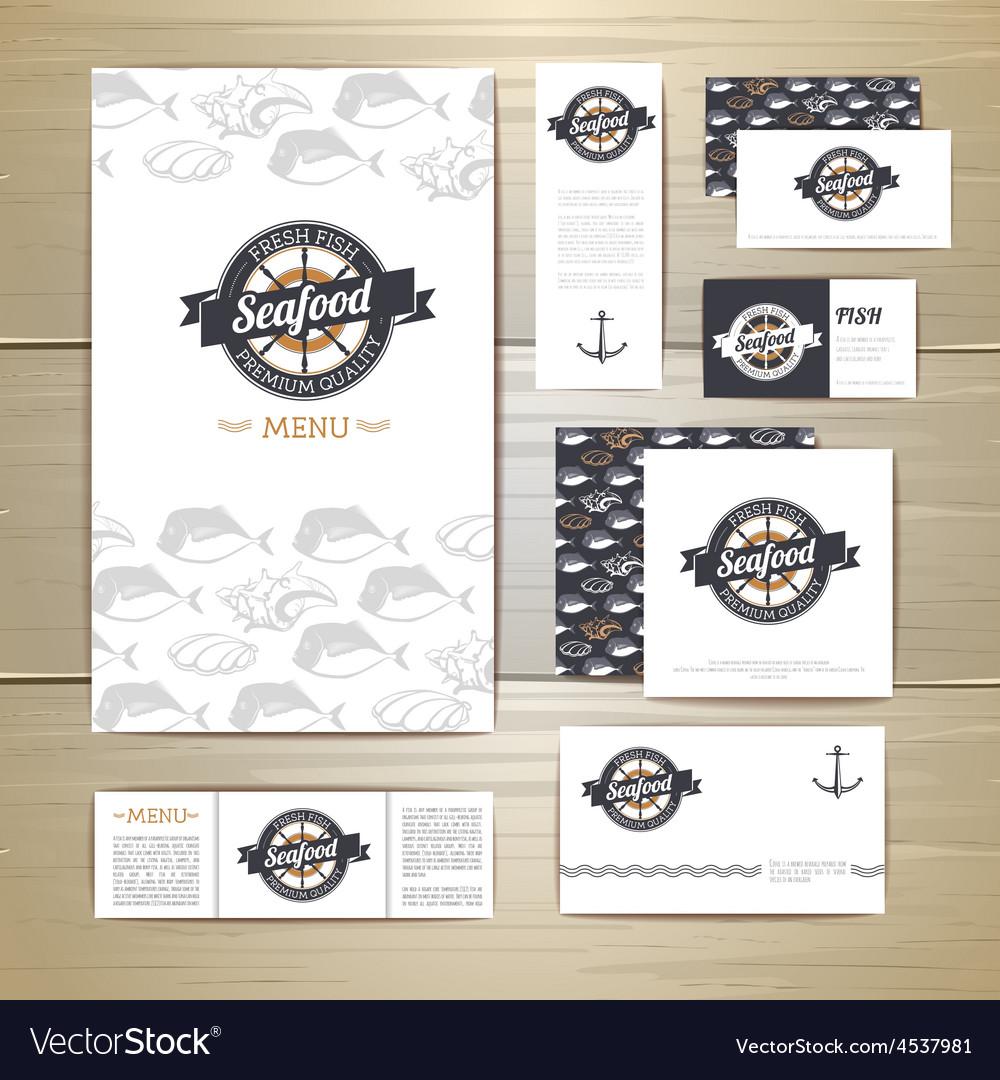 Fried fish restaurant menu concept design vector image for Little fish menu