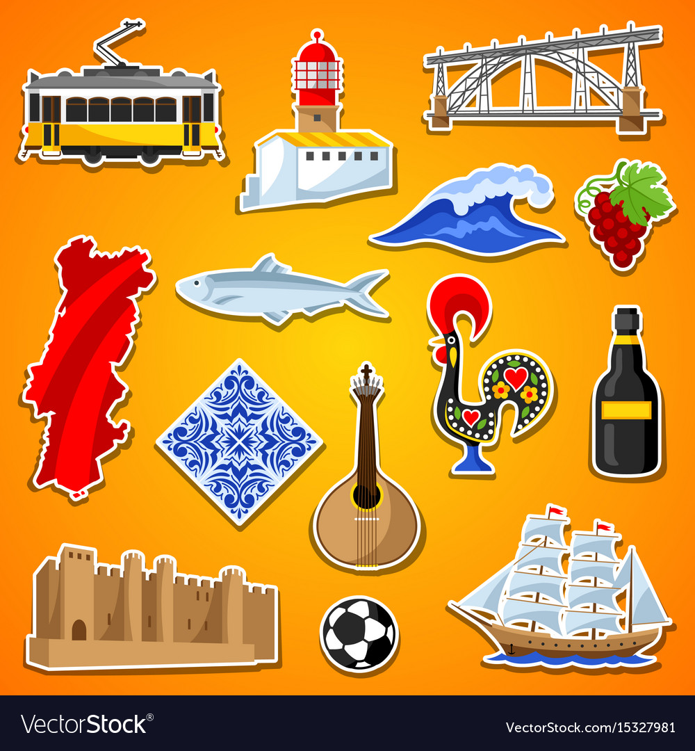 Portugal stickers set portuguese national vector image