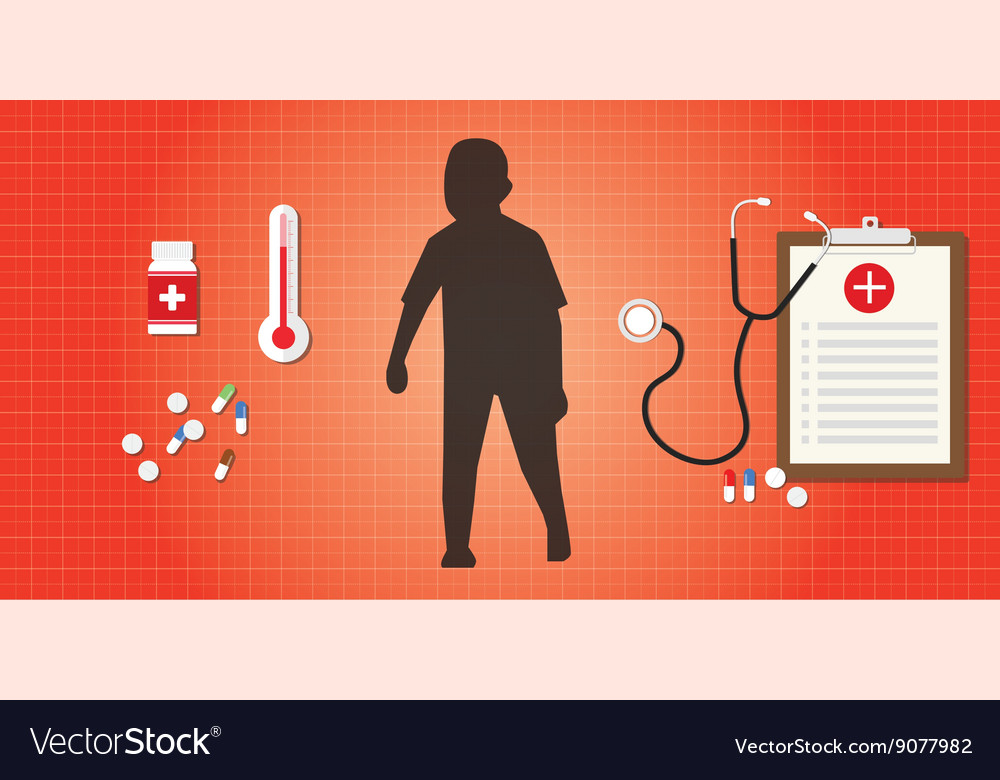 Adhd child with medical record and vector image