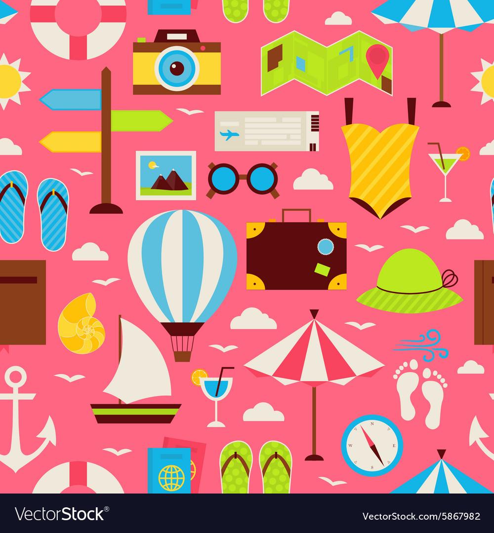 Flat Travel Resort Vacation Seamless Pattern vector image