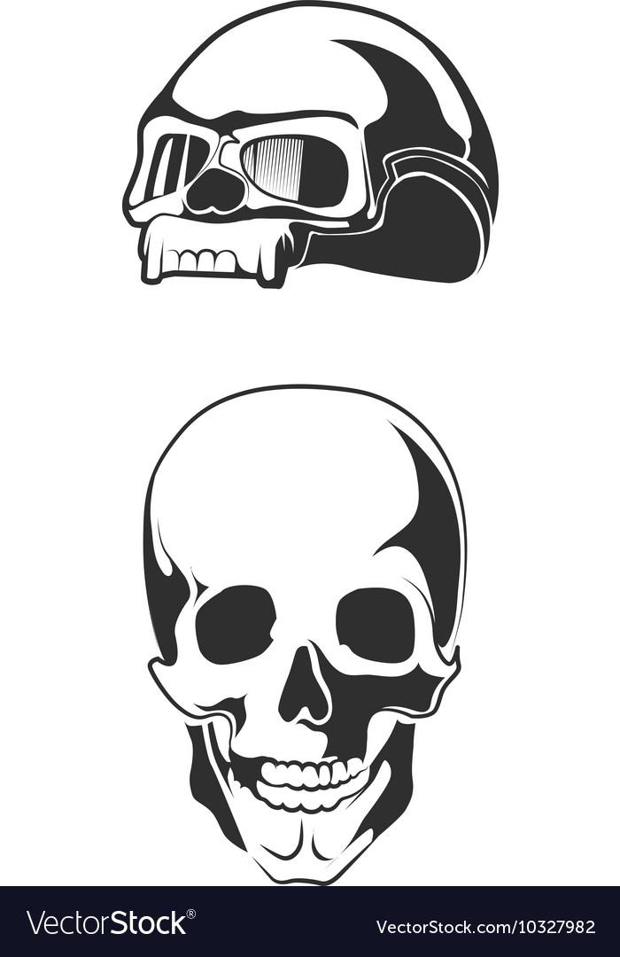 Human skull motorcycle vector image