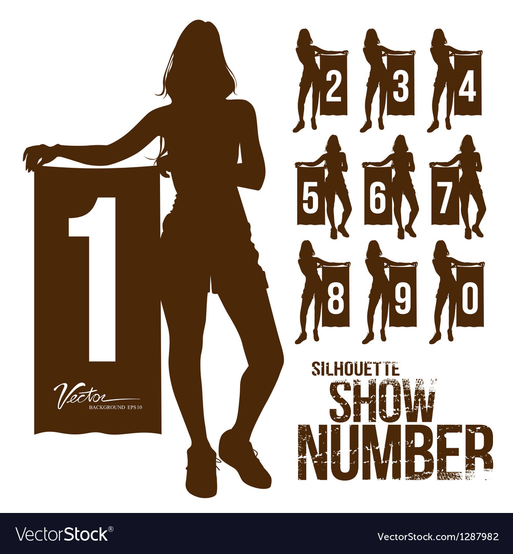 Silhouette woman show number vector image