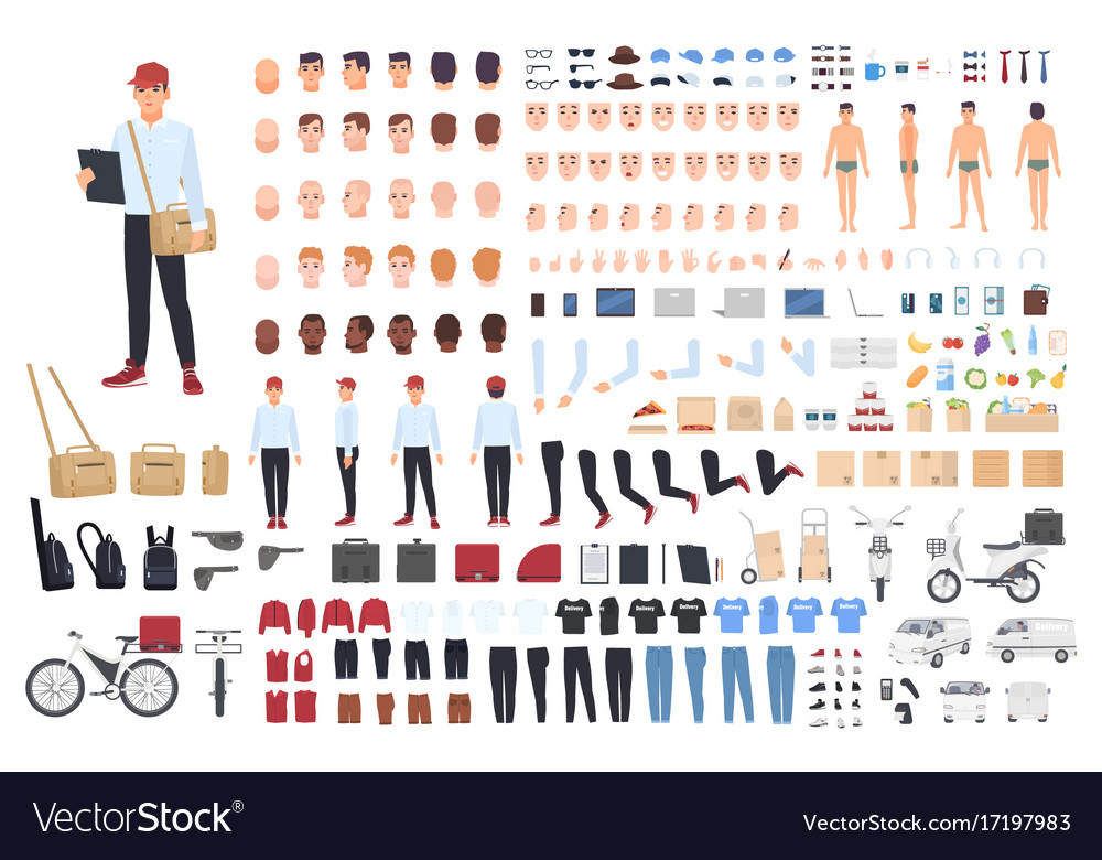 Delivery man creation set or building kit bundle vector image