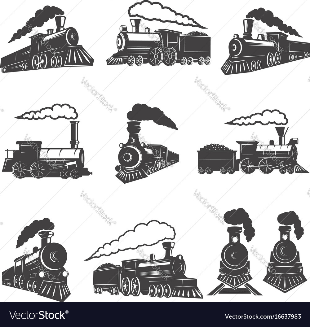 Set of vintage trains isolated on white background vector image