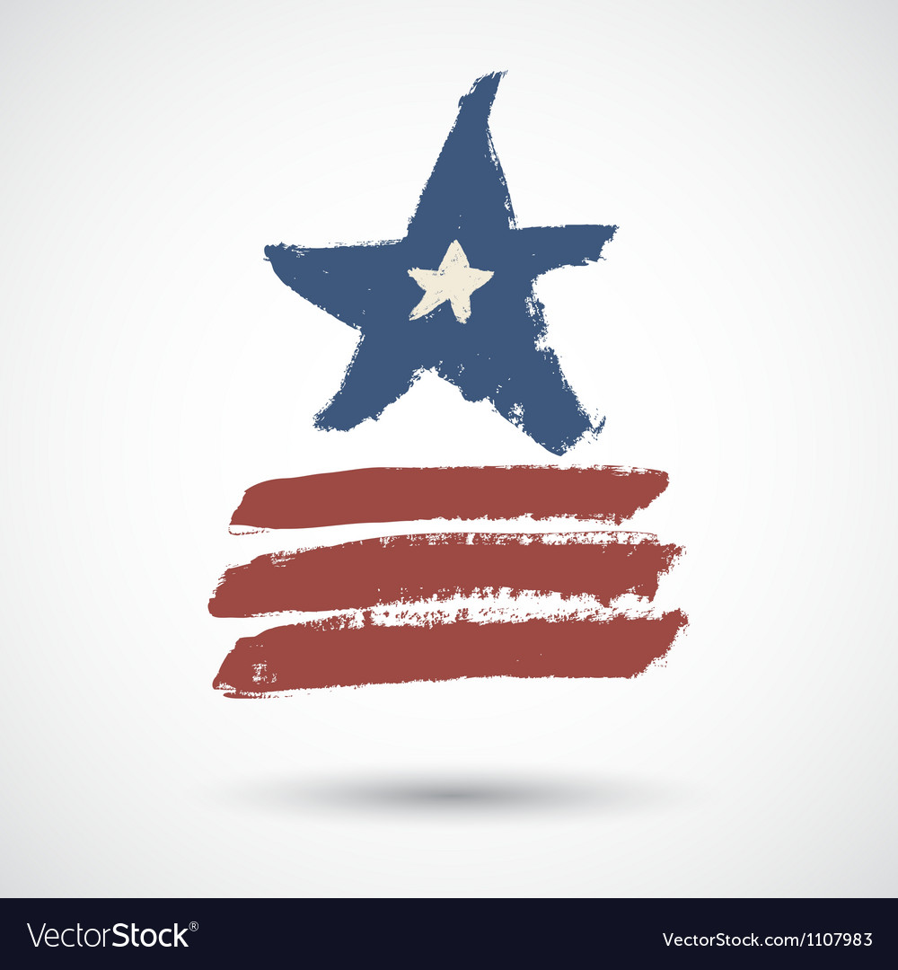 Vintage grunge star with stripes vector image
