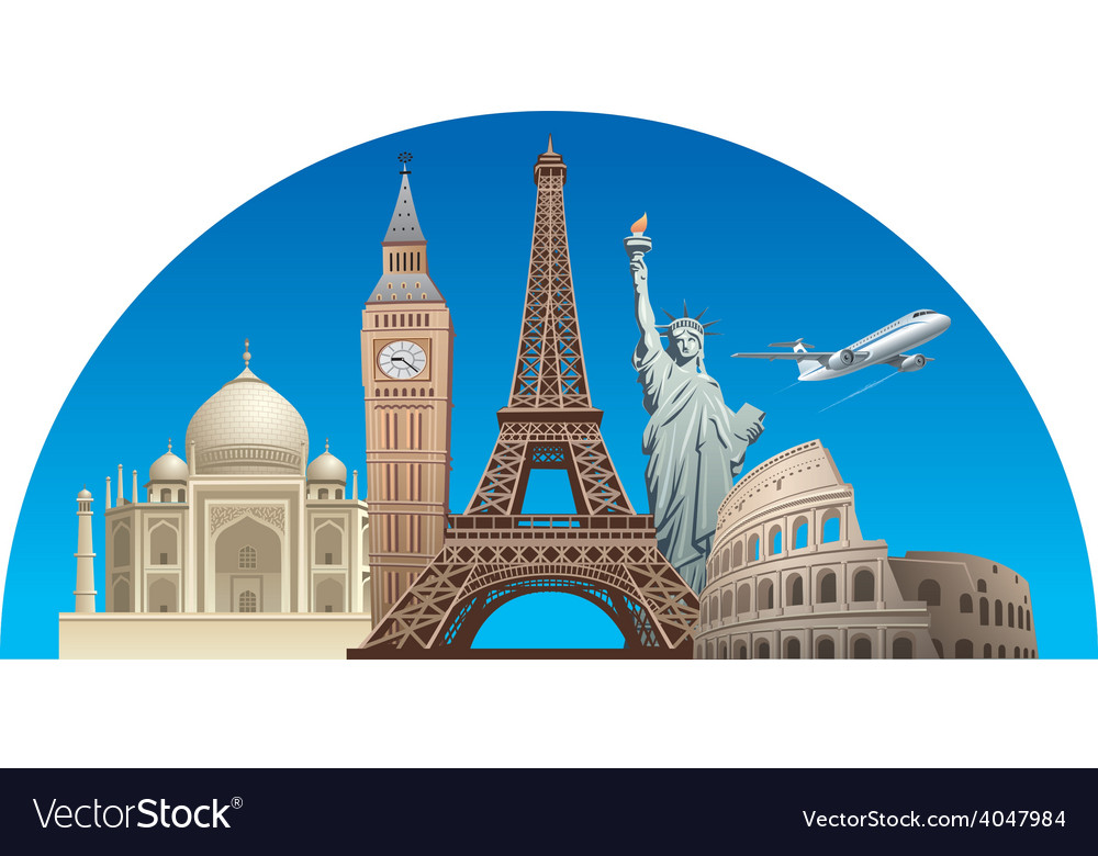 Europe landmarks vector image