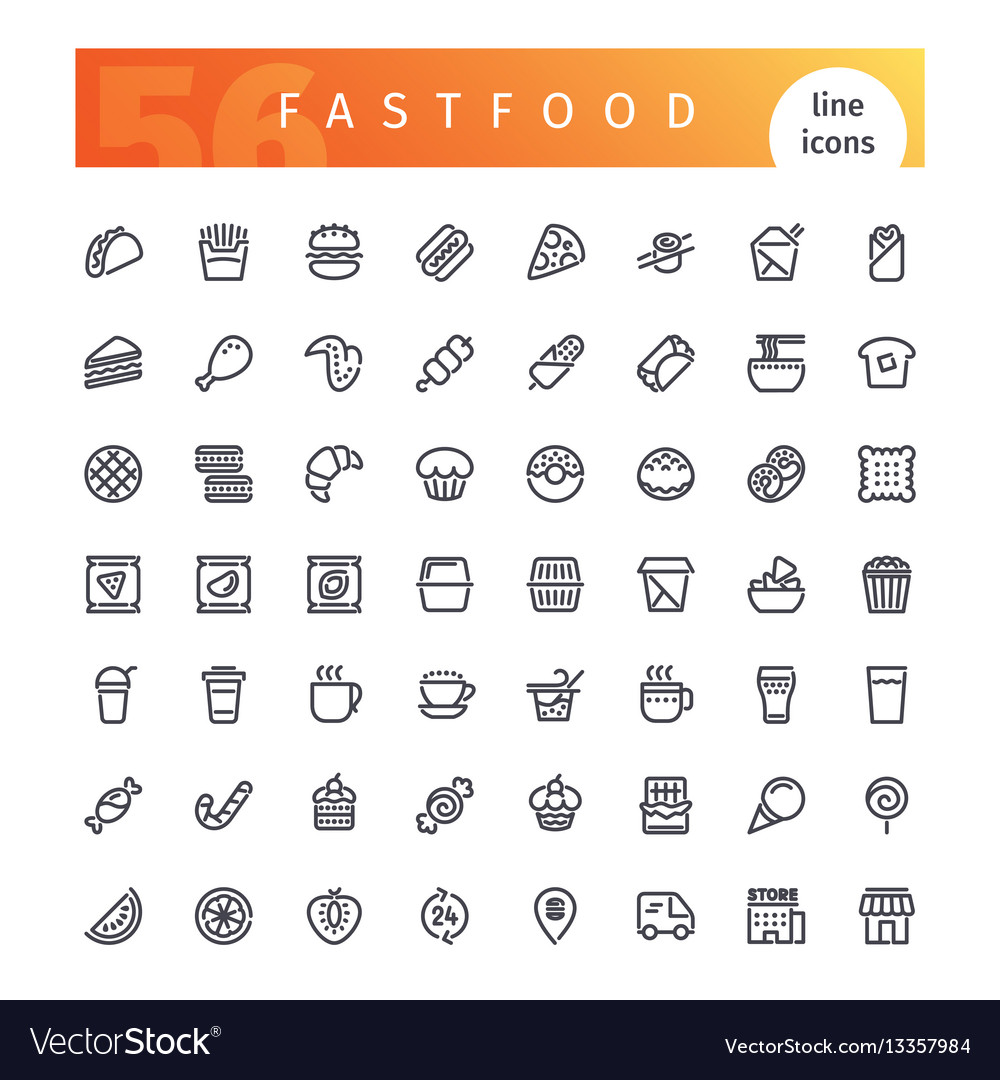Fastfood line icons set vector image