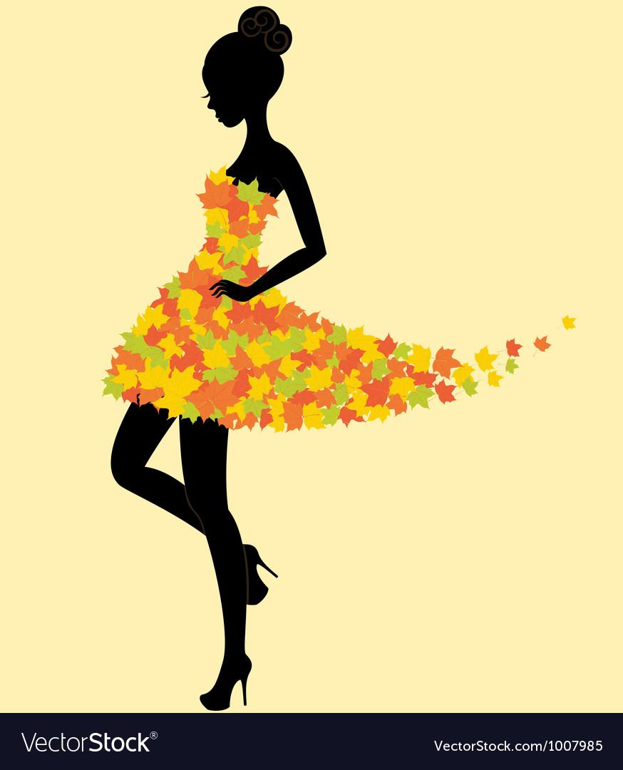 Dancer girl in dress of autumn leaves vector image