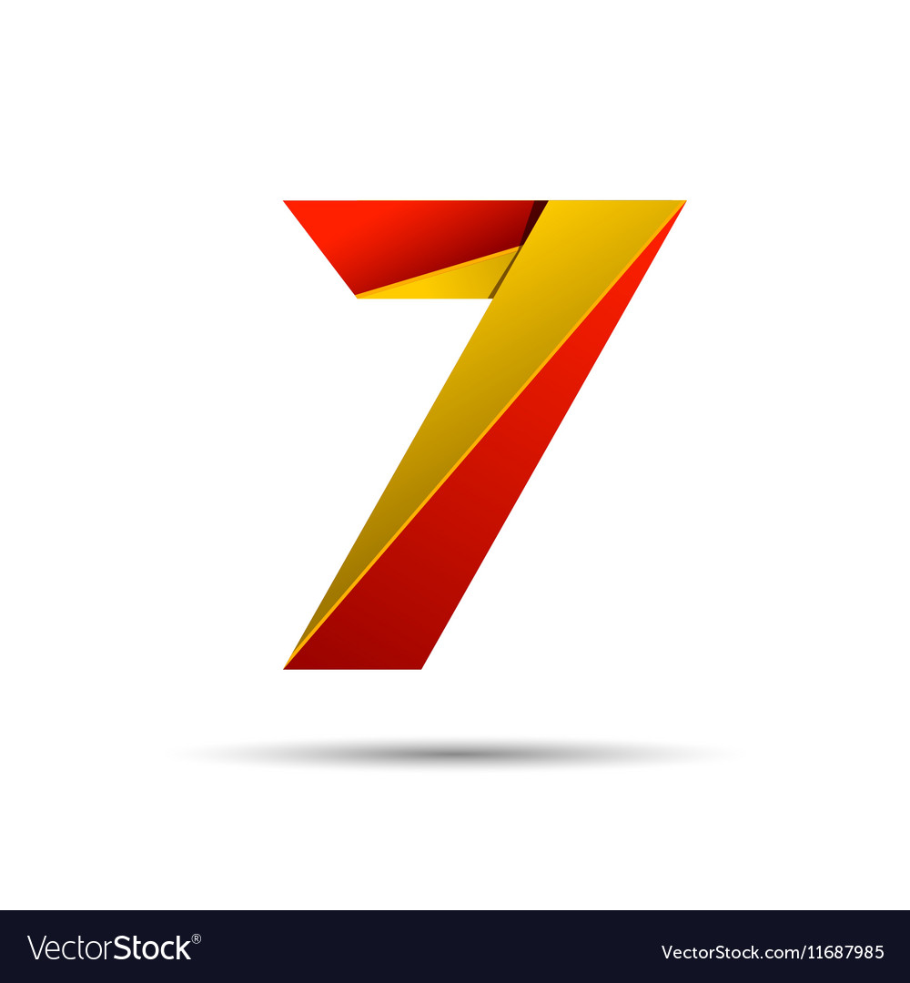 Number seven 7 icon design template elements 3d vector image