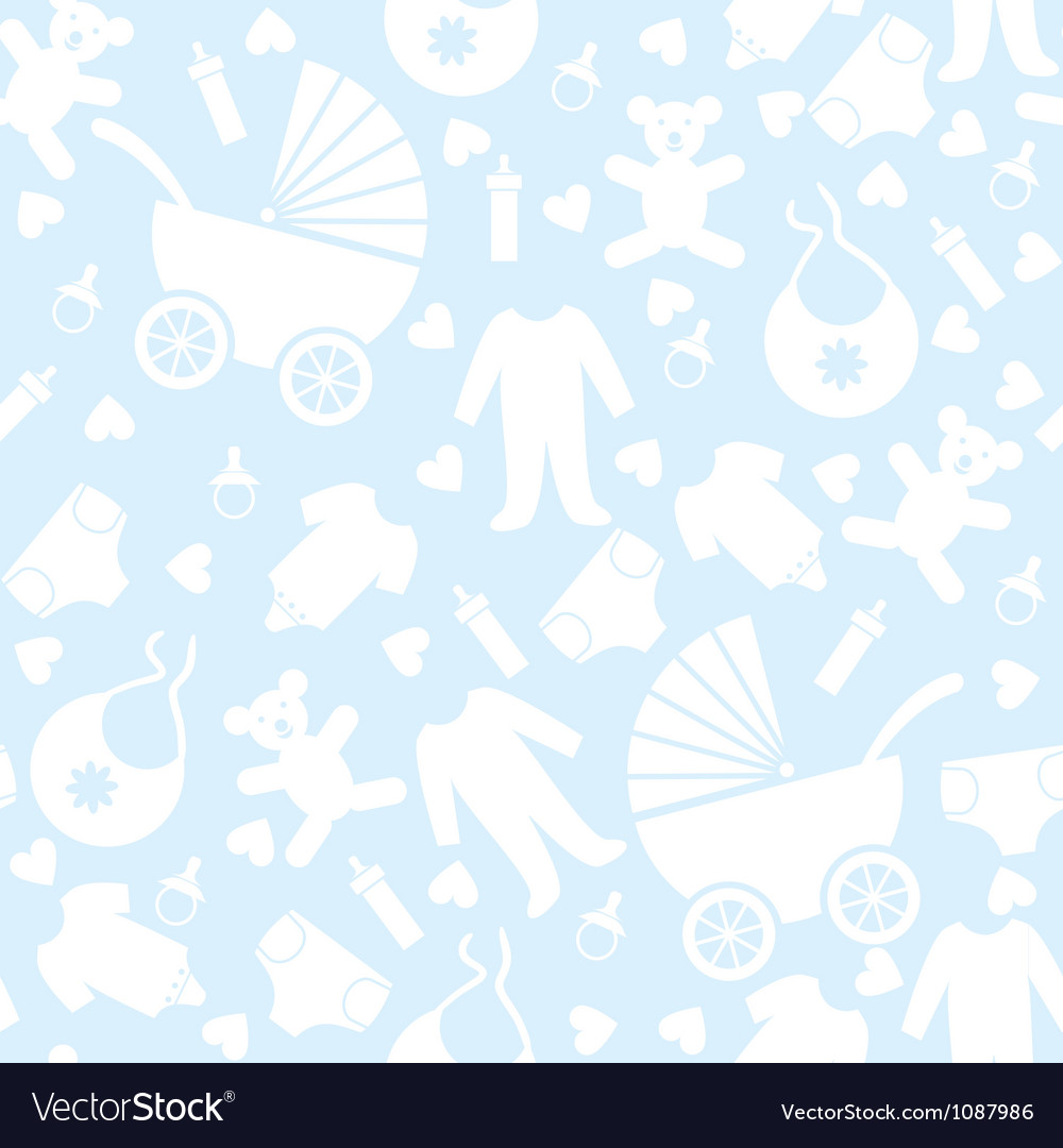 Seamless Blue Baby Background vector image
