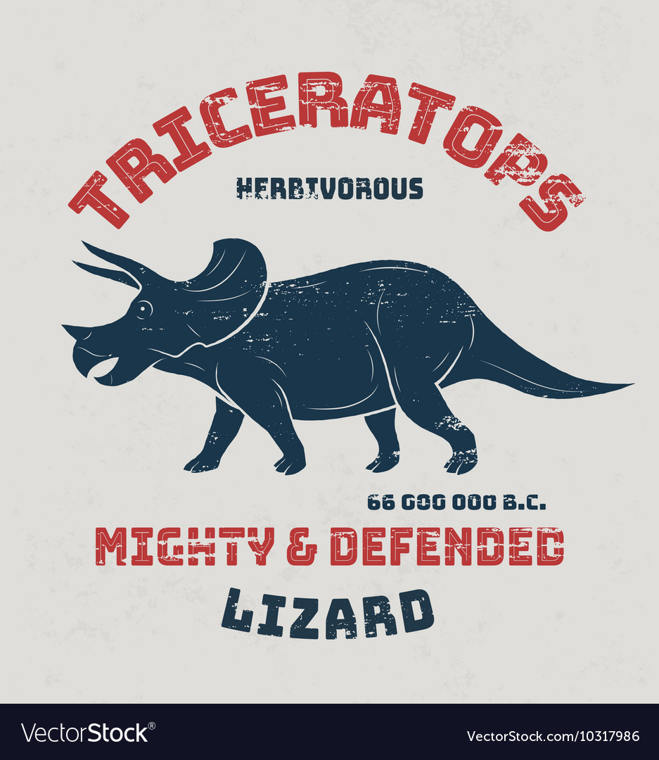 Triceratops t-shirt design print typography label vector image