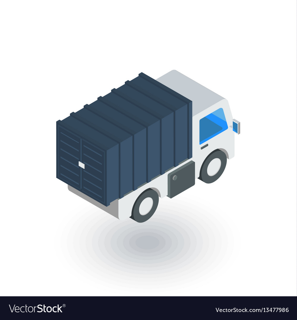 Truck cab van body container isometric flat icon vector image