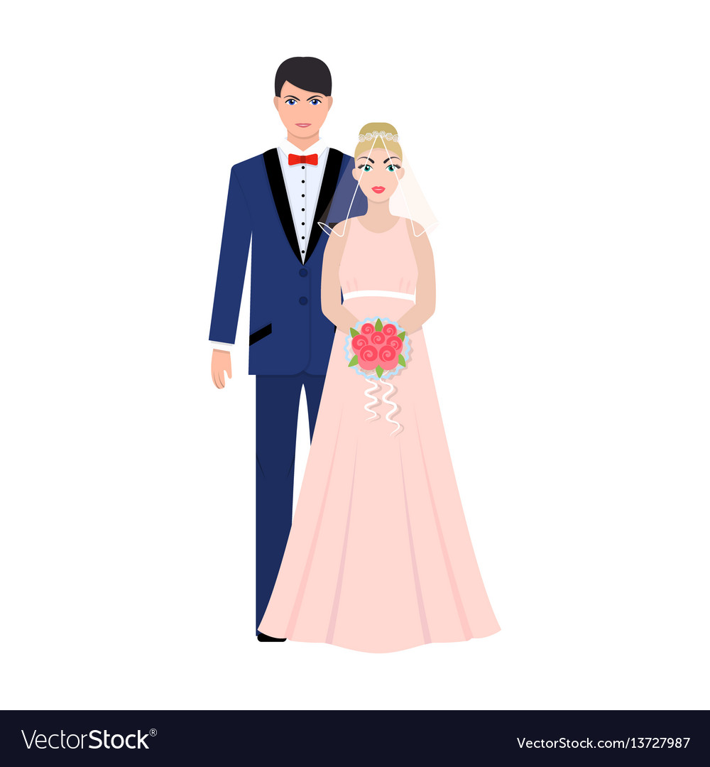 A man and a woman in beautiful outfits the bride vector image