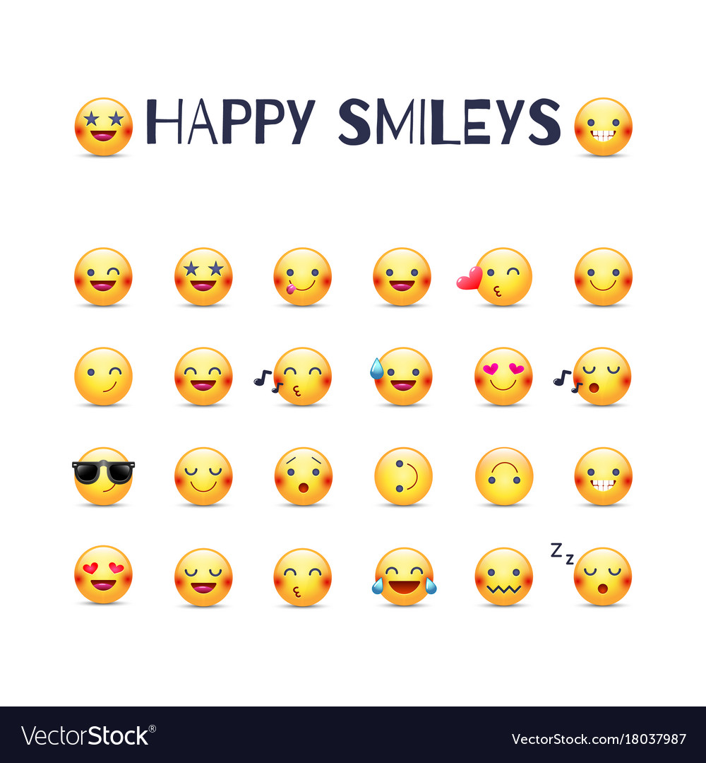 Happy smileys icon set joy emoticons royalty free vector happy smileys icon set joy emoticons vector image biocorpaavc Images
