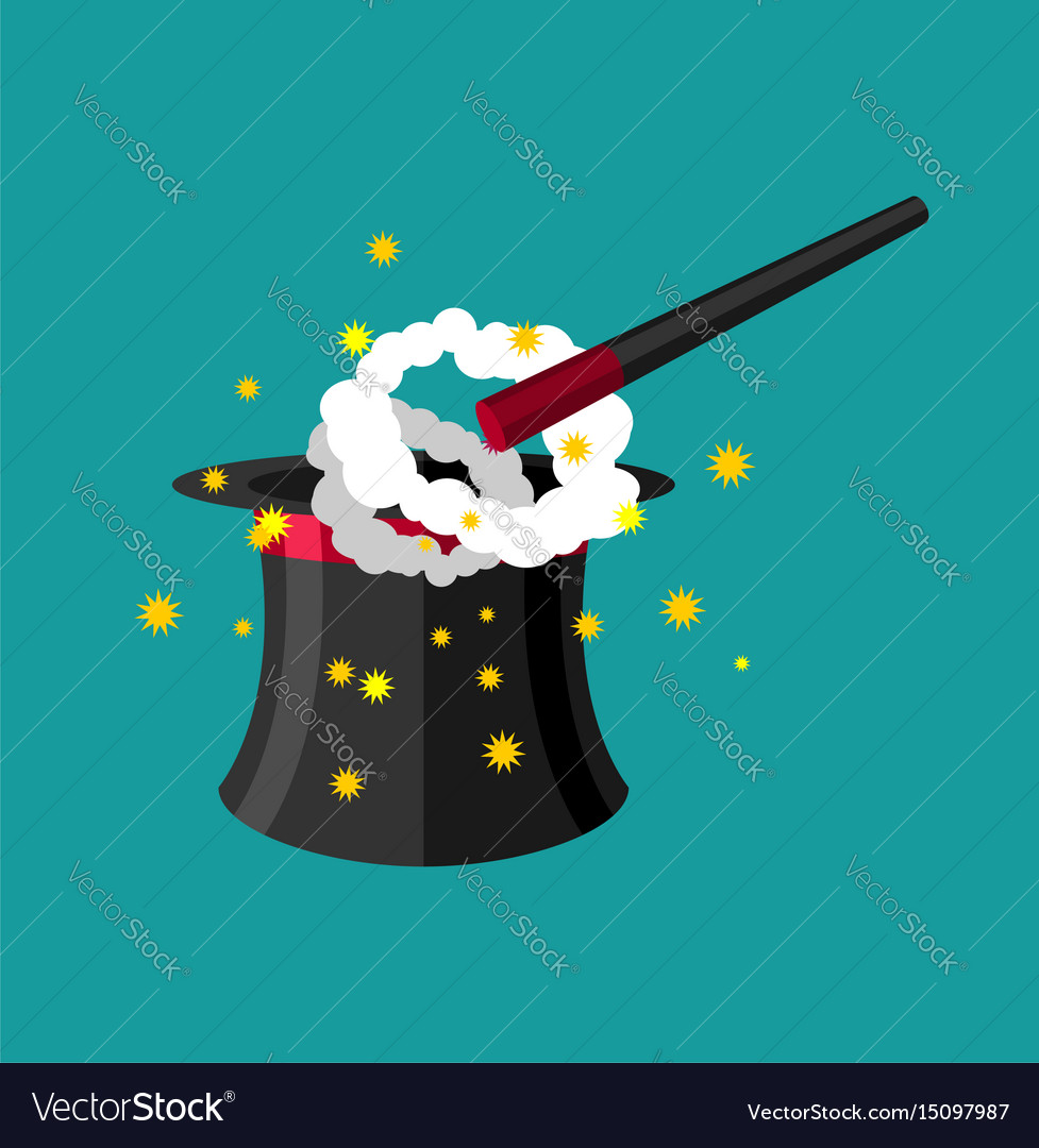 Hat and magic wand magician accessory vector image