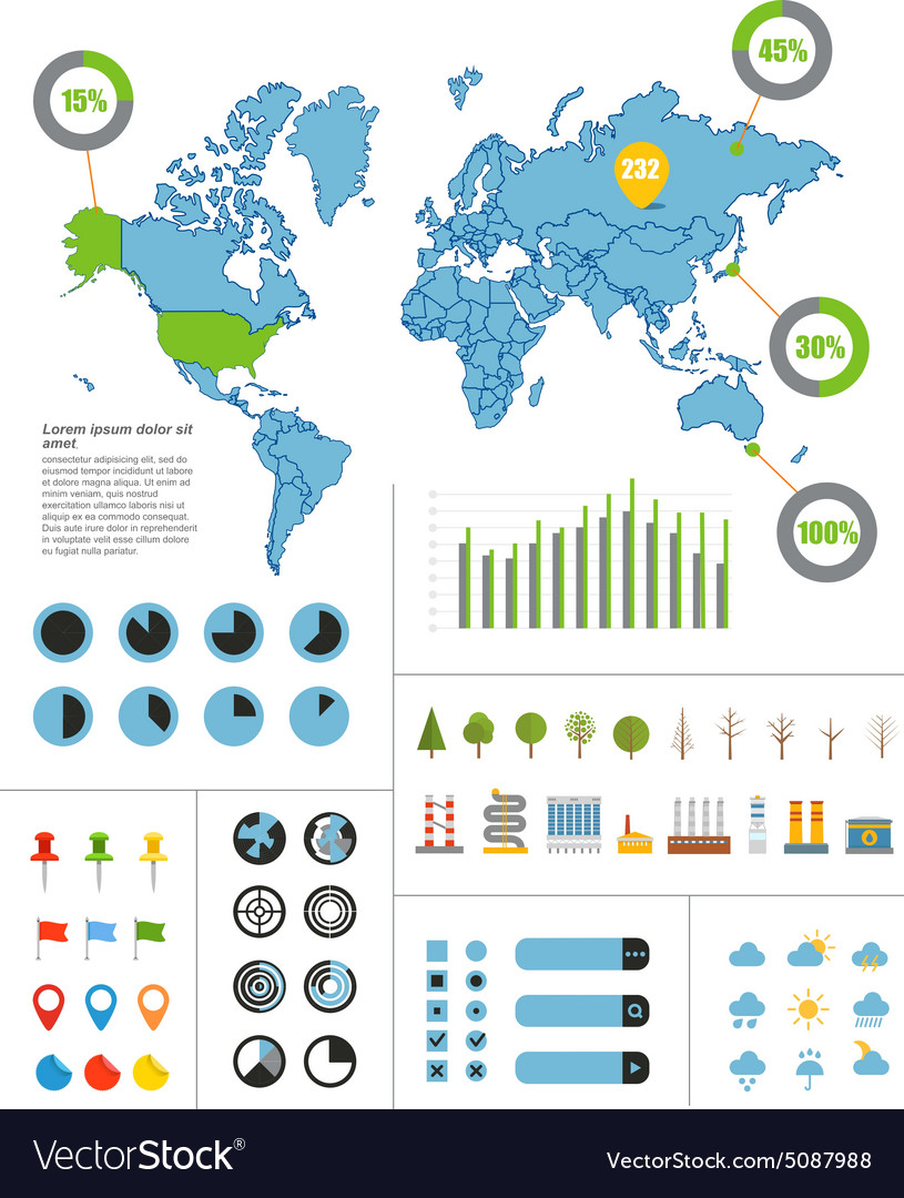 Infographics Earth map vector image